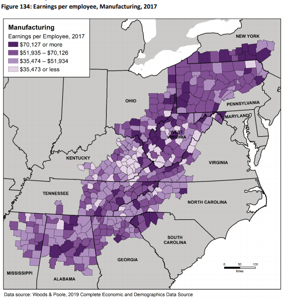 Manufacturing earnings by Appalachian county from ARC's report
